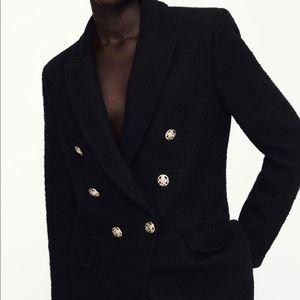 BNWT! Zara Textured Weaved Black Jacket XS